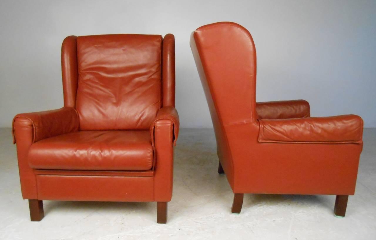 Scandinavian Danish Modern Wingback Leather Chairs For Sale