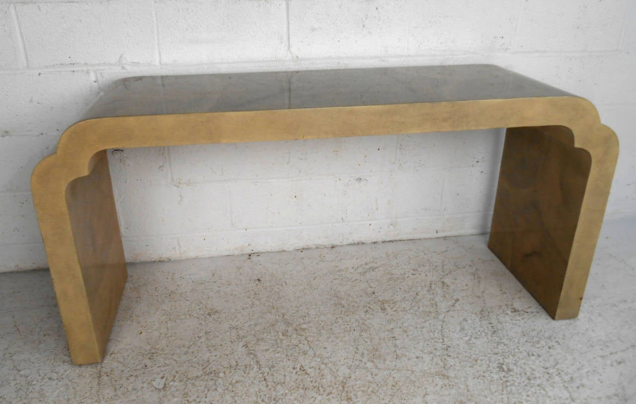 Unique Mid-Century Modern Karl Springer Style Console Table at 1stdibs