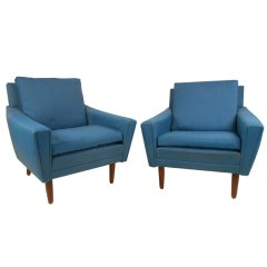 Pair of Mid-Century Modern Upholstered Club Chairs