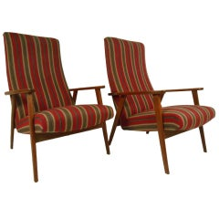 Scandinavian Modern High Back Lounge Chairs