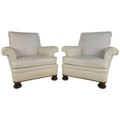 Pair of Modern High Back Lounge Chairs