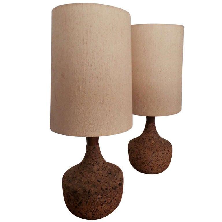 Vintage Modern Cork Lamps For