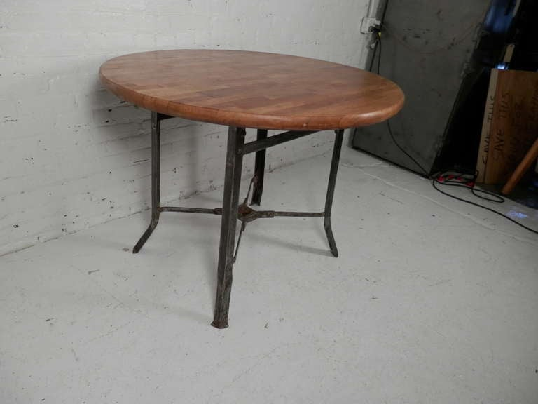 Butcher Block Dining Table with Industrial Metal Base at 1stdibs