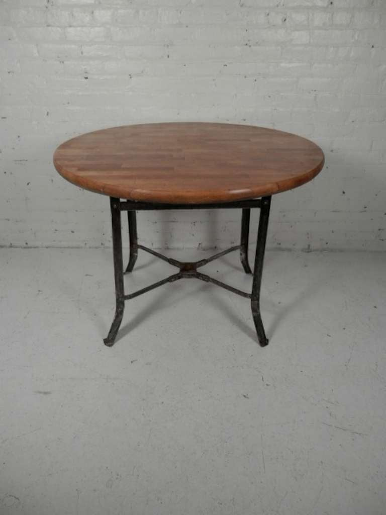 butcher block dining table w industrial metal base at 1stdibs