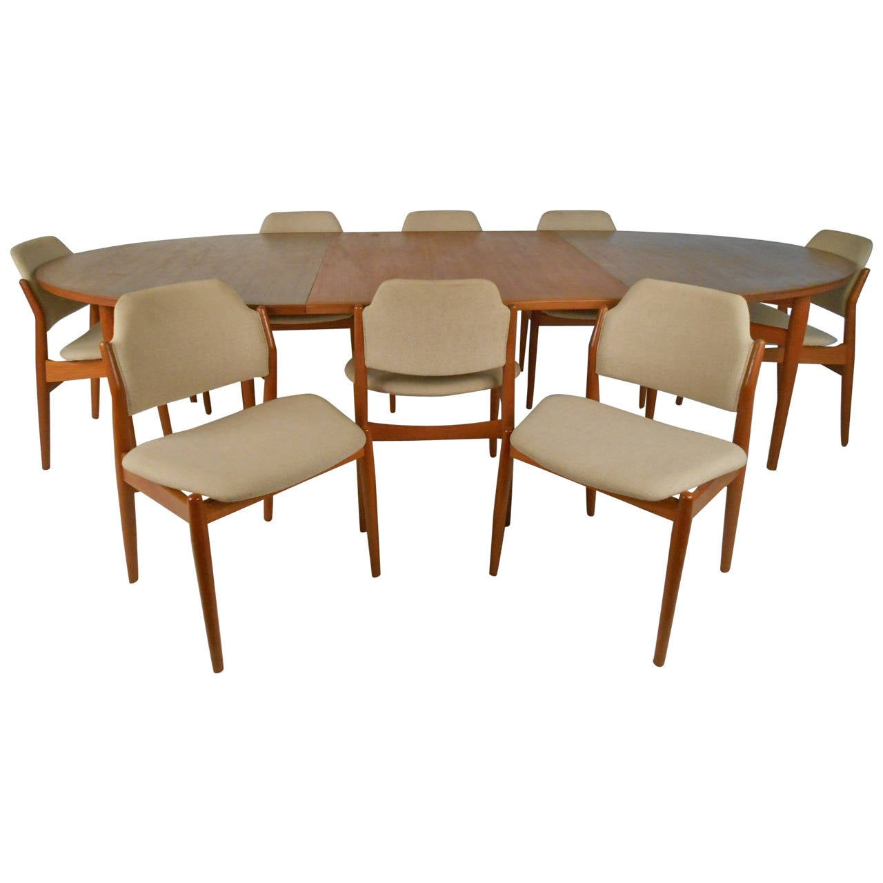 scandinavian modern teak dining set with eight chairs by arne vodder for sibast for sale at 1stdibs. Black Bedroom Furniture Sets. Home Design Ideas