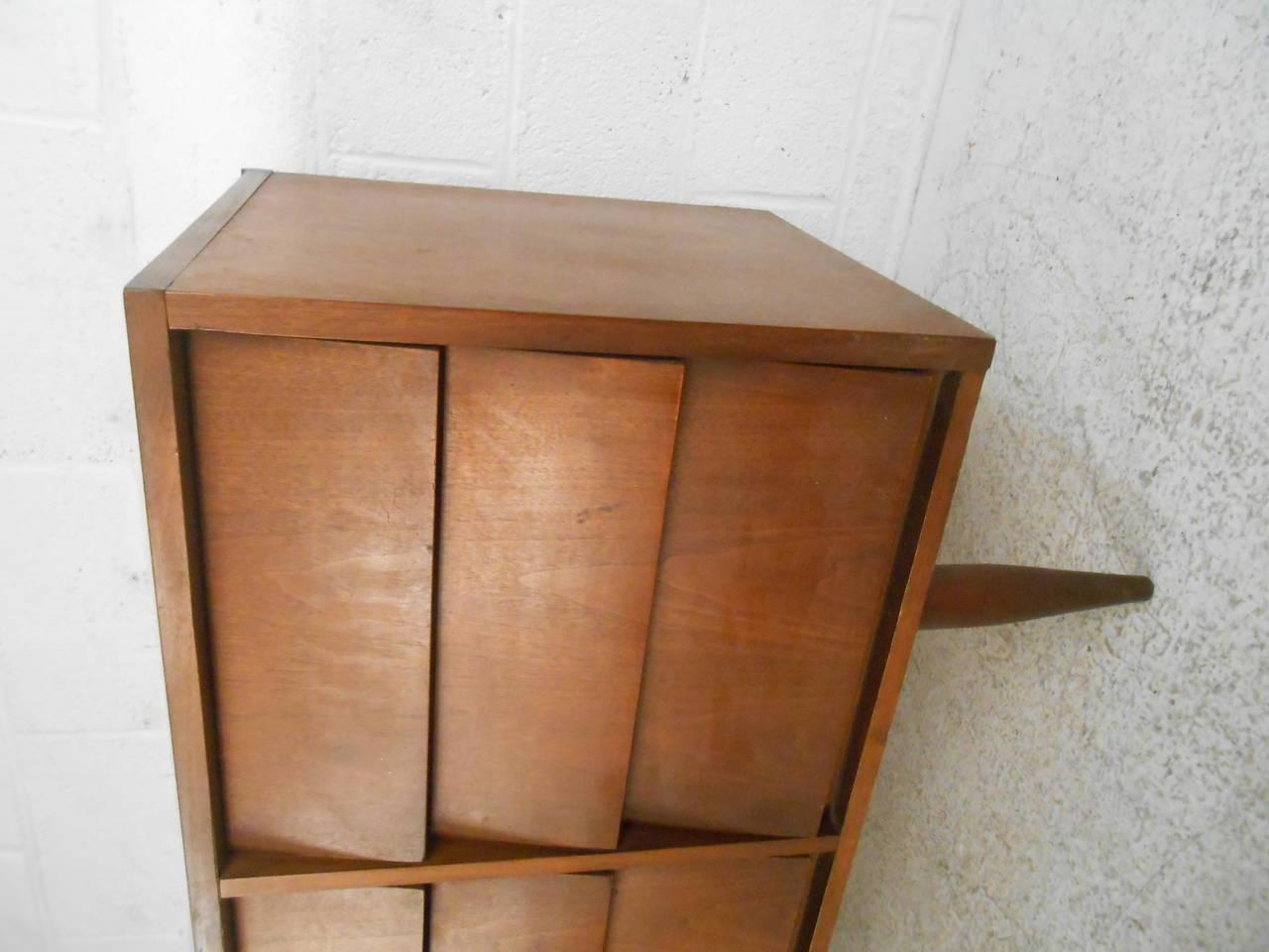 Mid-Century Modern Nine Drawer Walnut Louvered Front Dresser by Ward Furniture 5