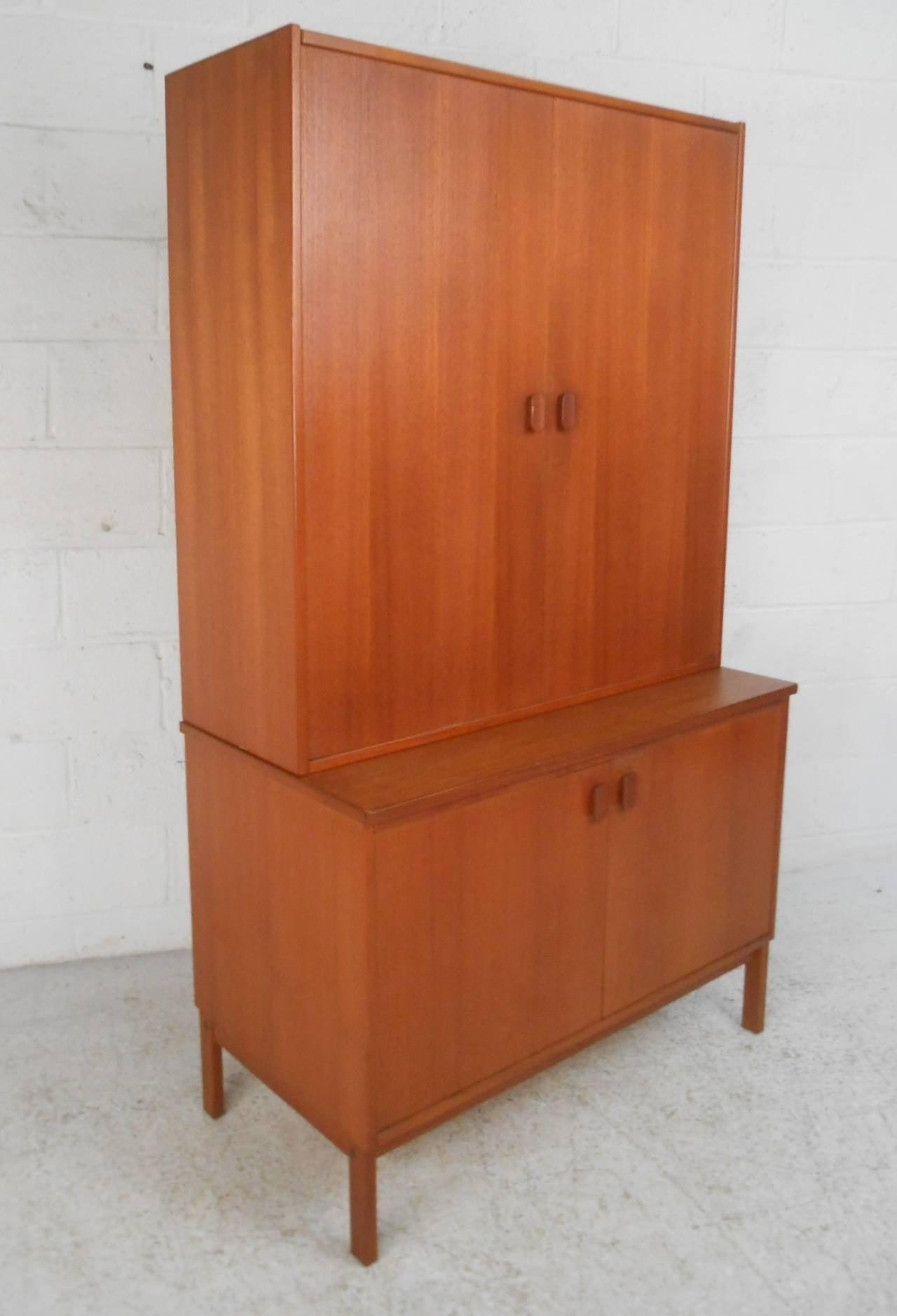 Unique Mid Century Modern Dyrlund Style Swedish Teak Armoire Cabinet
