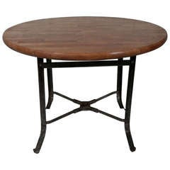 Butcher Block Dining Table with Industrial Metal Base