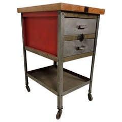 Industrial Metal Task Cabinet w/ Inlaid Wood Top