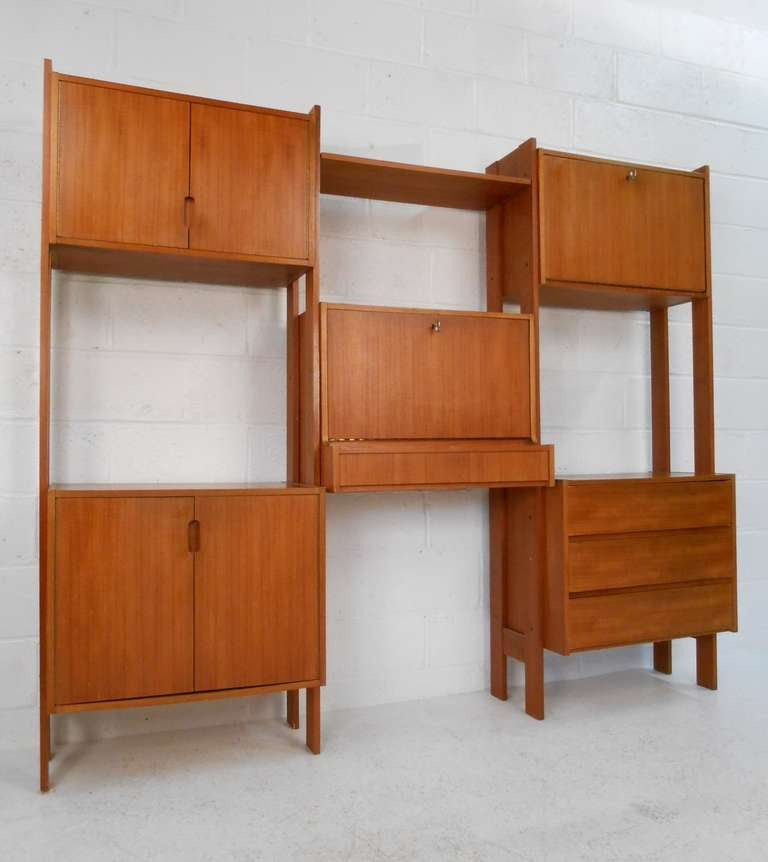 Freestanding Teak Wall Unit With Drop Leaf Desk Three Storage Cabinets And Drawer