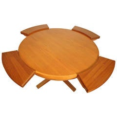 "Midcentury Circular ""Flip-Flap"" Dining Table by Dyrlund"