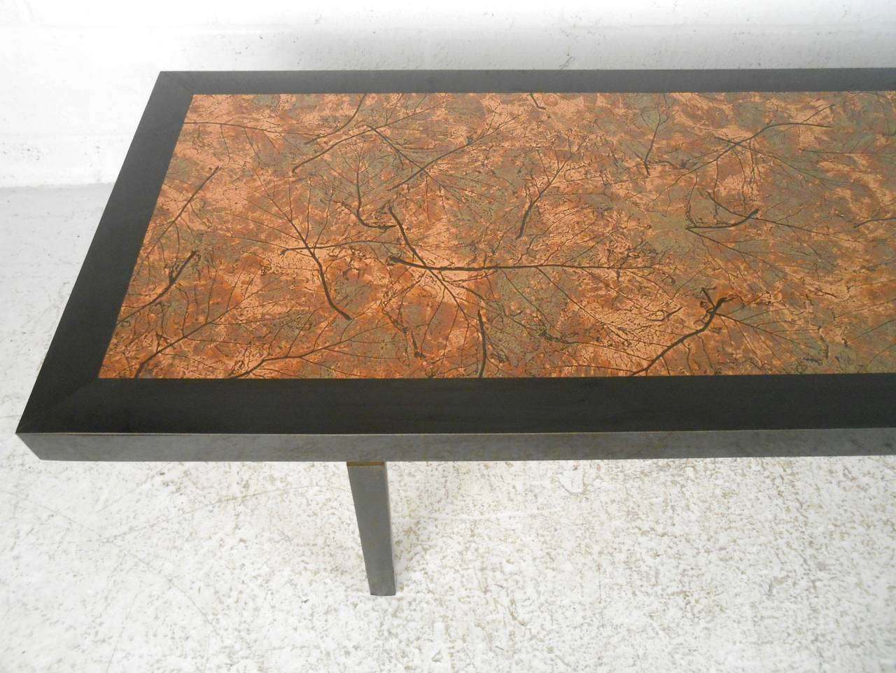 Beautiful Mid Century Modern Hammered Copper Top Coffee