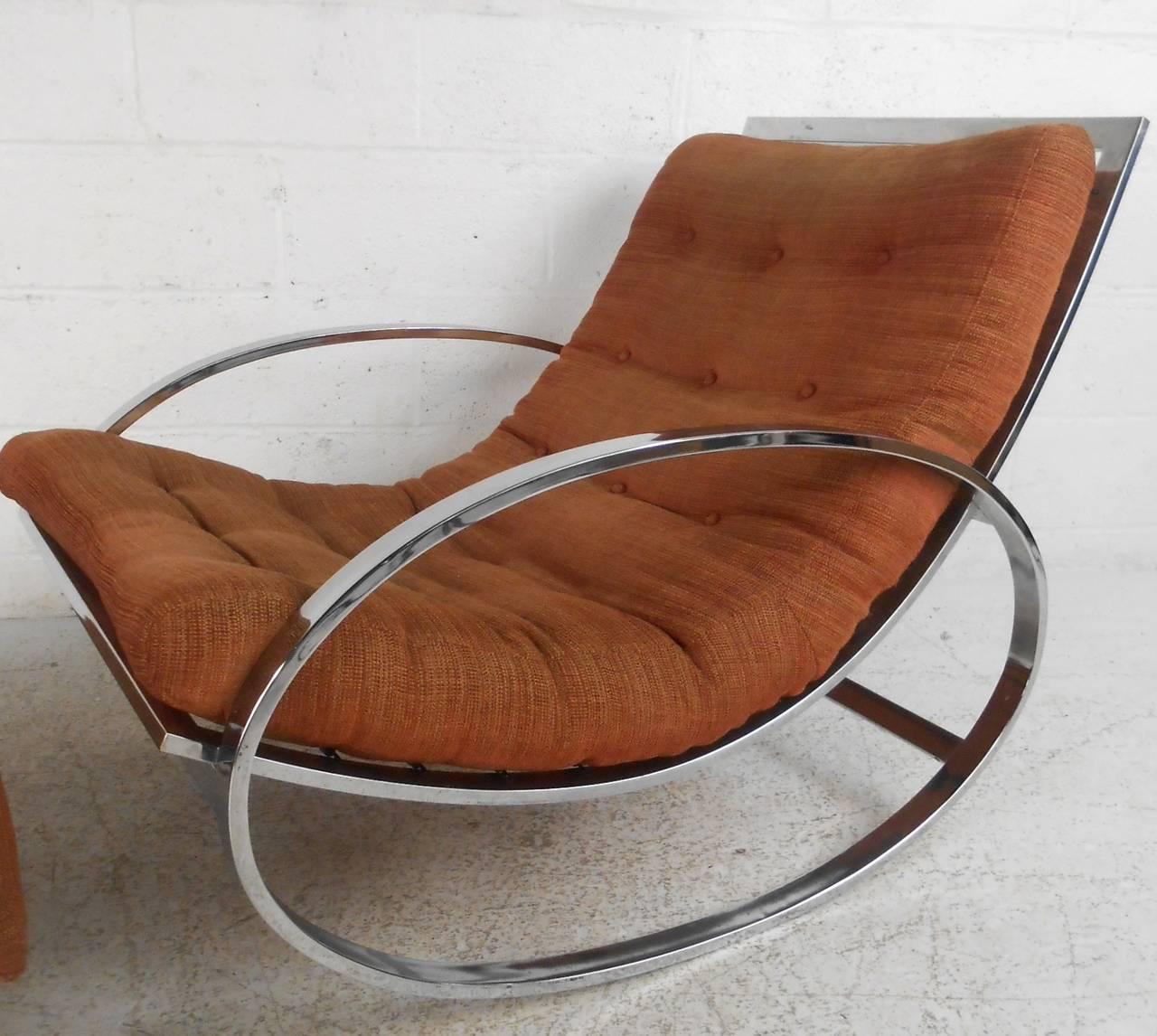 Milo Baughman Style Mid-Century Modern Renato Zevi Ellipse Chair and Ottoman 6