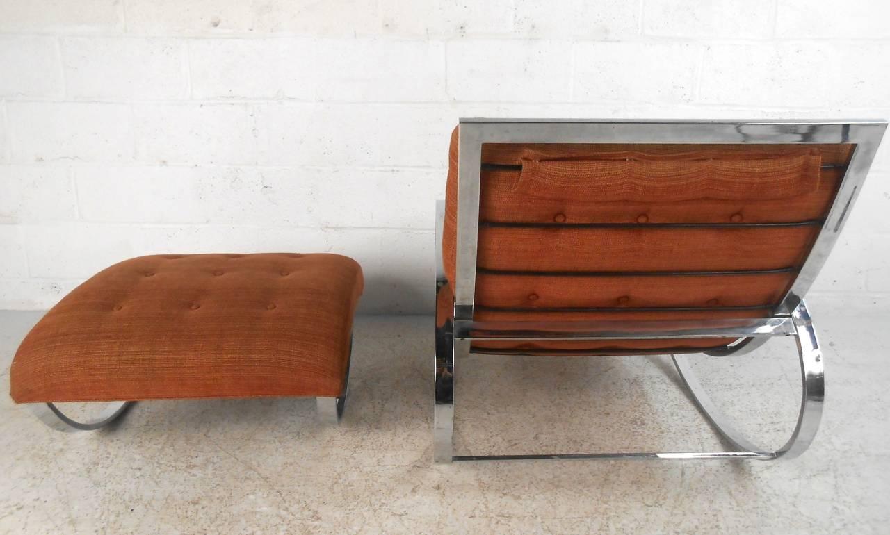 Milo Baughman Style Mid-Century Modern Renato Zevi Ellipse Chair and Ottoman 4