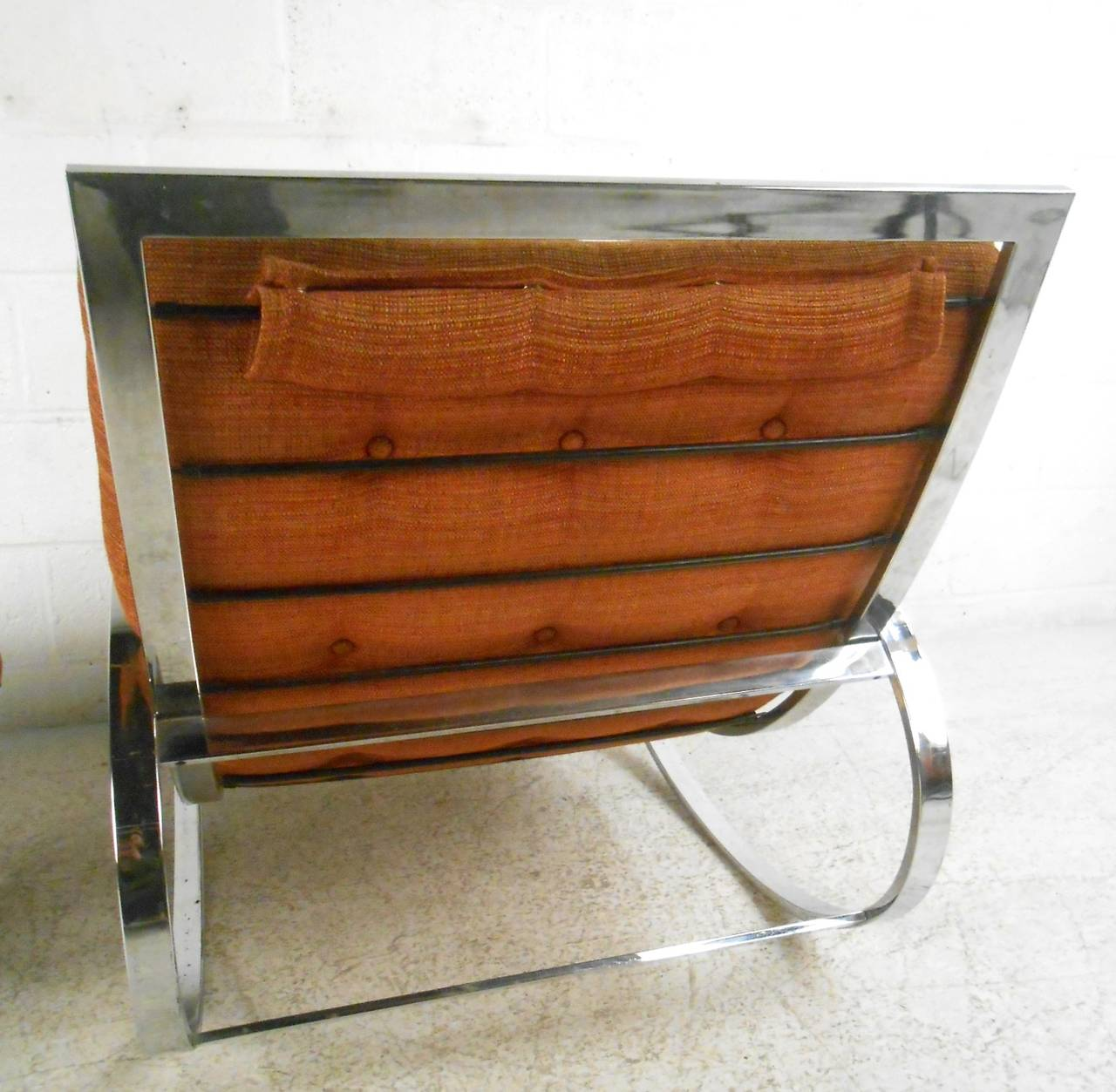 Milo Baughman Style Mid-Century Modern Renato Zevi Ellipse Chair and Ottoman 8