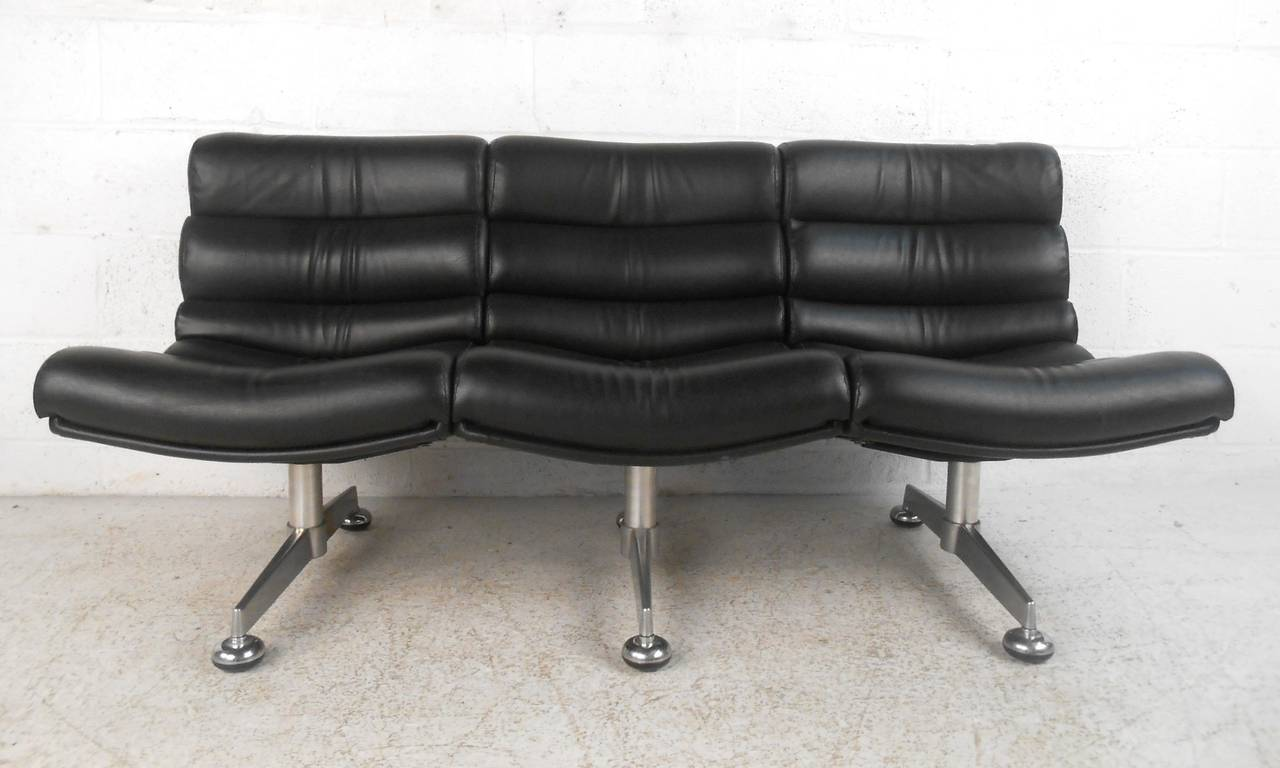 Unique Mid-Century Modern Leather Three Seat Airport Style ...