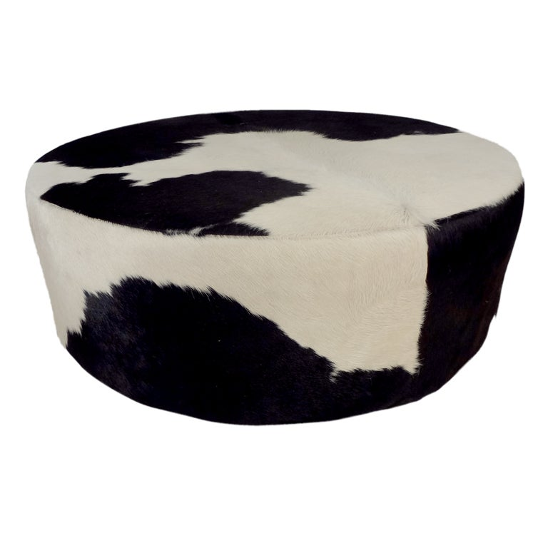 Round Cowhide Ottoman At 1stdibs