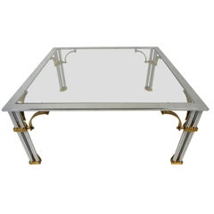 Regency Style Brass and Chrome Glass Top Coffee Table