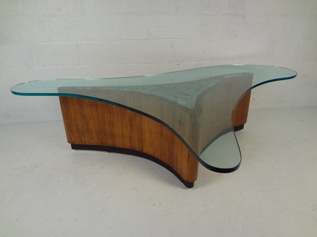 Large Biomorphic Glass and Marble Free-Form Coffee Table For Sale ...