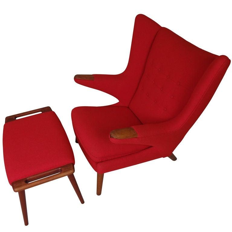 Original Papa Bear Chair And Ottoman By Hans Wegner At 1stdibs
