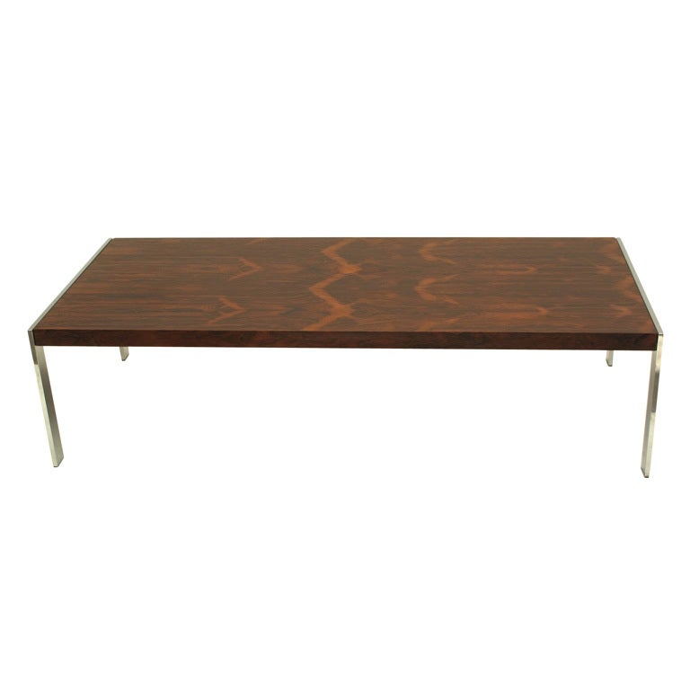Milo Baughman Flamed Rosewood And Chrome Coffee Table At 1stdibs