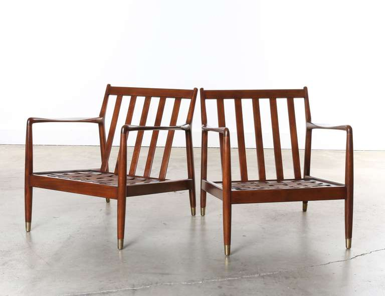 Pair Of Dux Mid Century Scandinavian Design Dark Walnut Arm Chairs