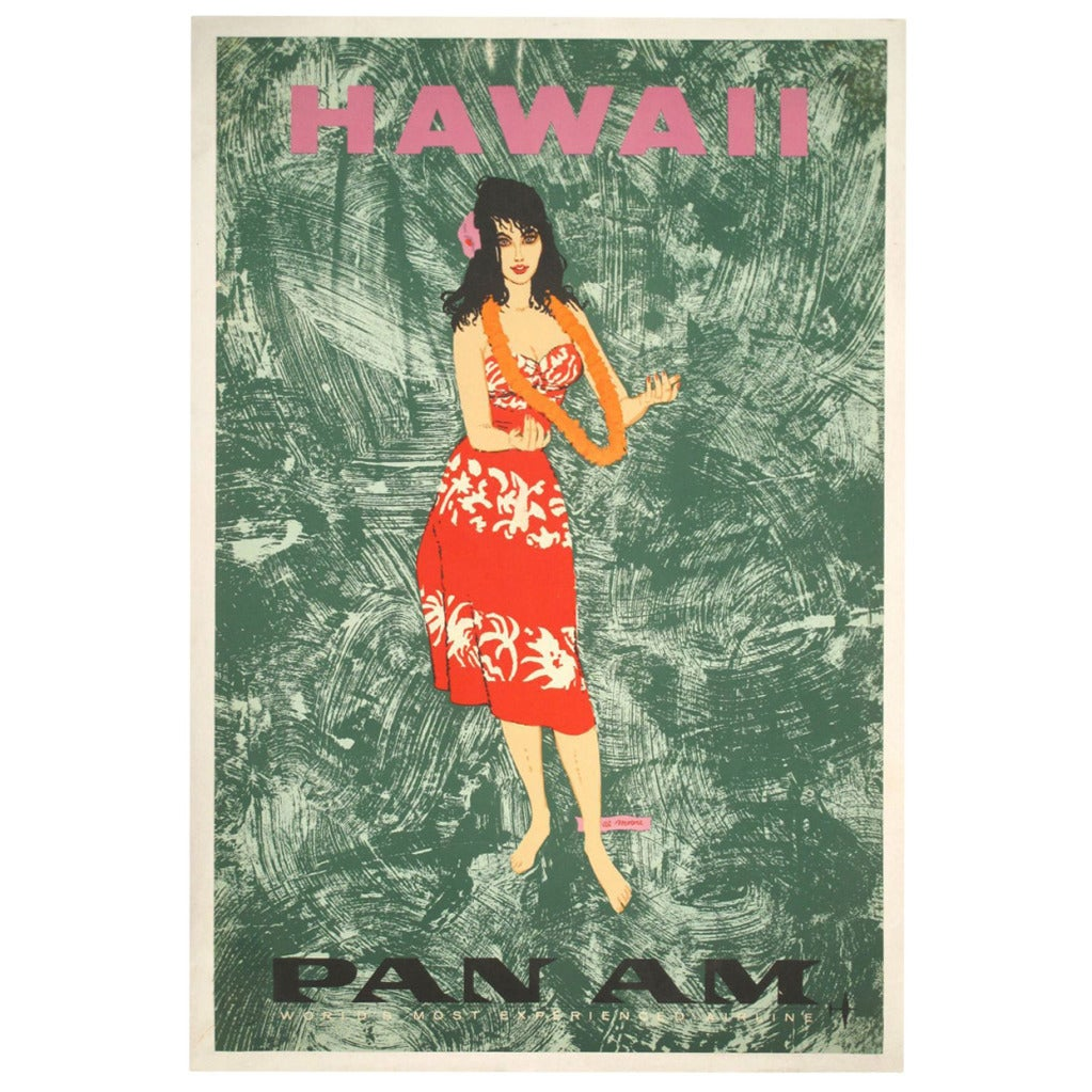 Original mid century hawaiian pan am travel poster circa for Mid century modern furniture hawaii