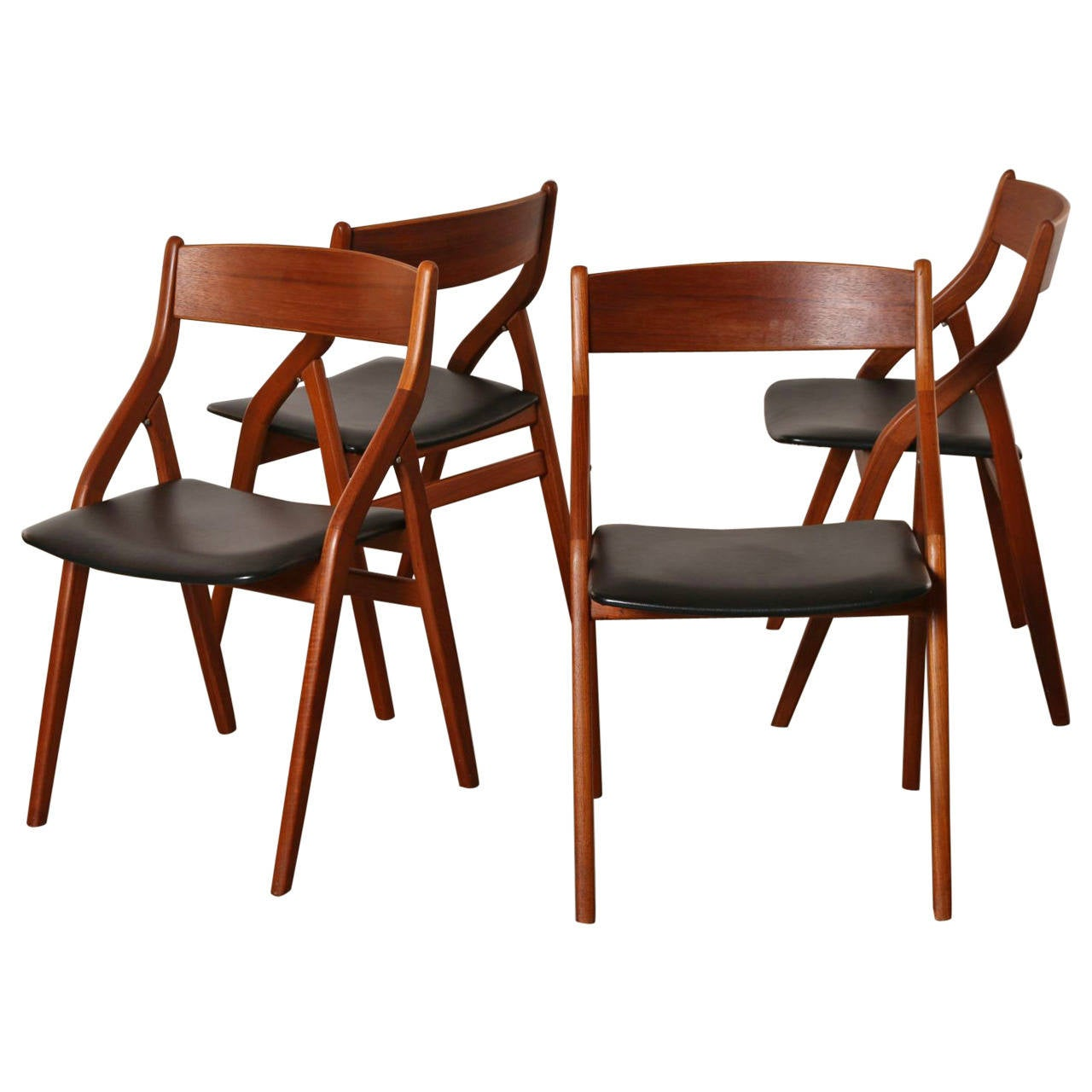 of four dyrlund danish modern teak folding dining chairs at 1stdibs