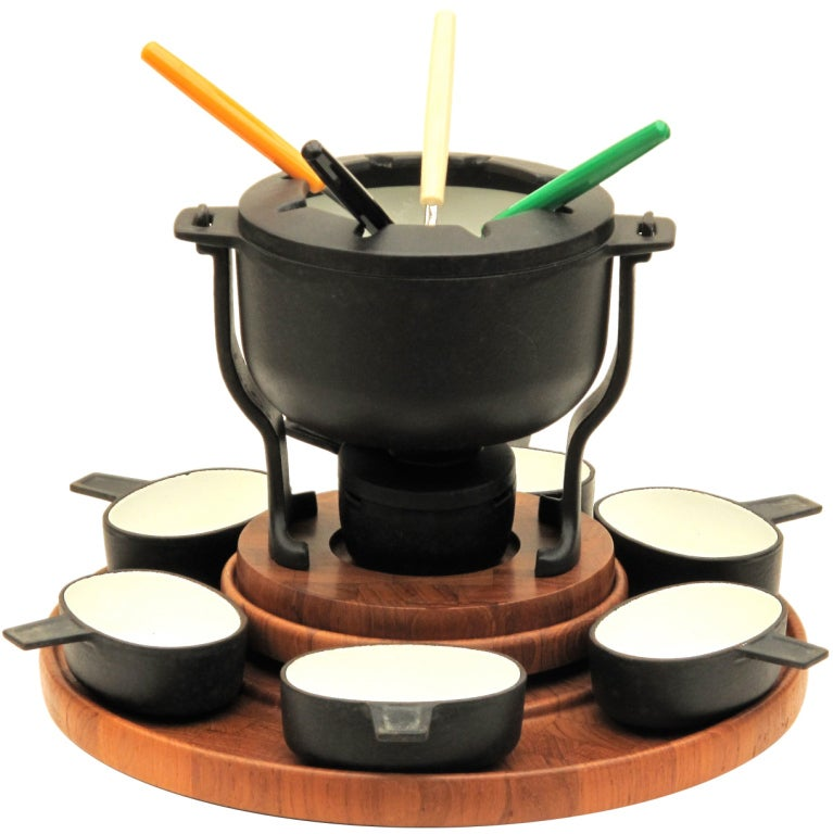 1970 39 s danish fondue set digsmed denmark at 1stdibs. Black Bedroom Furniture Sets. Home Design Ideas