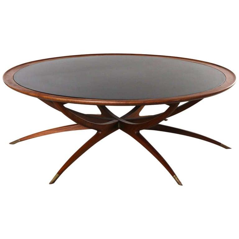 Dark Teak Coffee Table: Danish Teak And Glass Spider Coffee Table At 1stdibs