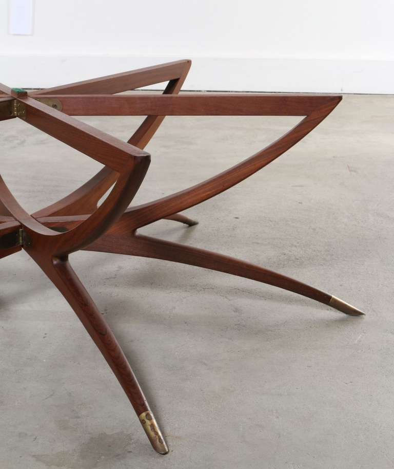 Danish Teak And Glass Spider Coffee Table At 1stdibs