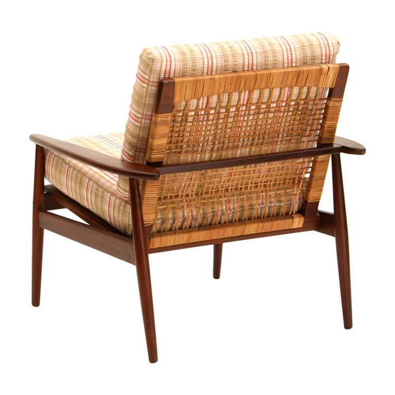 Delightful Hans Olsen 1950s Danish Rosewood And Cane Easy Chair 1