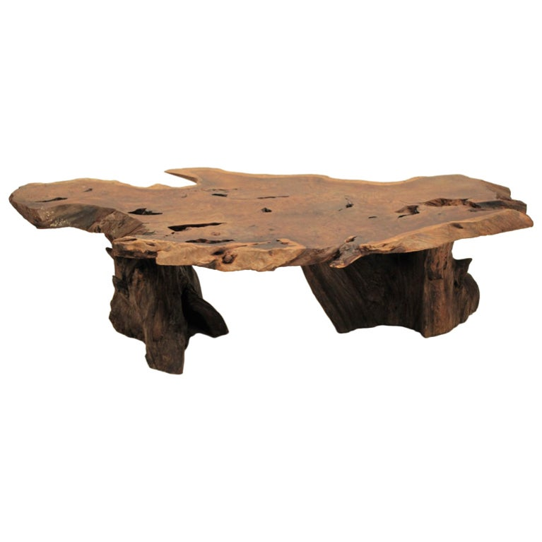 California Redwood Slab Coffee Table 1