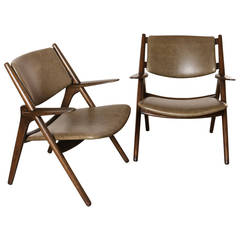 Pair of Vintage Sawbuck Lounge Chairs with Leather Seats, circa 1960s
