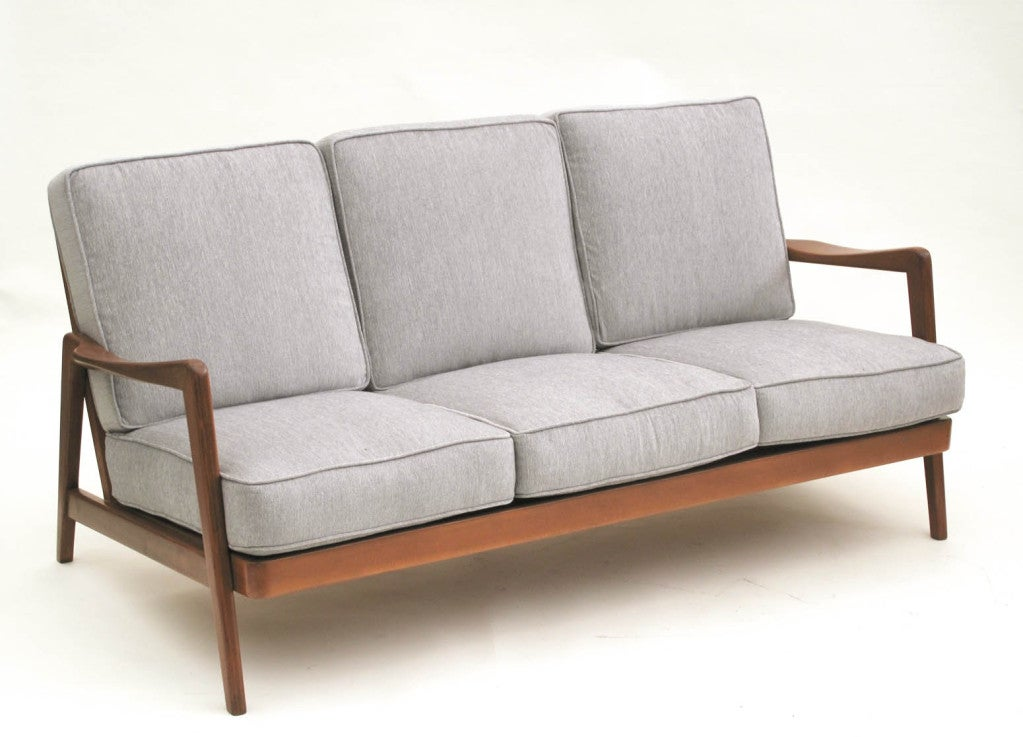 dux mid century scandinavian design wood frame sofa 1960s at 1stdibs. Black Bedroom Furniture Sets. Home Design Ideas