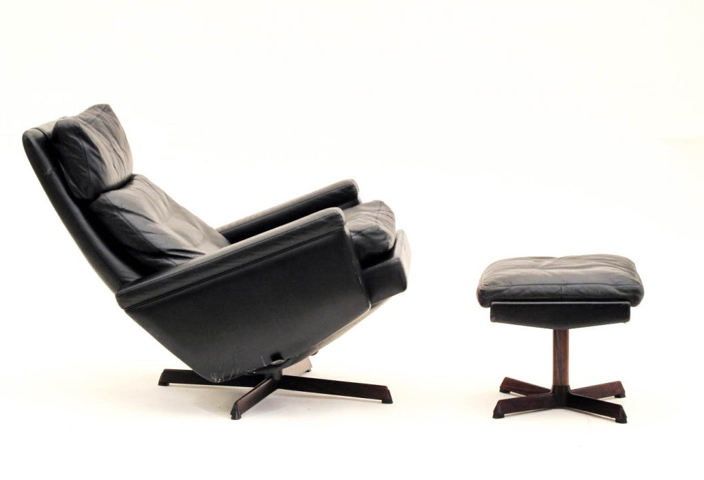 danish reclining swivel lounge chair with ottoman at 1stdibs