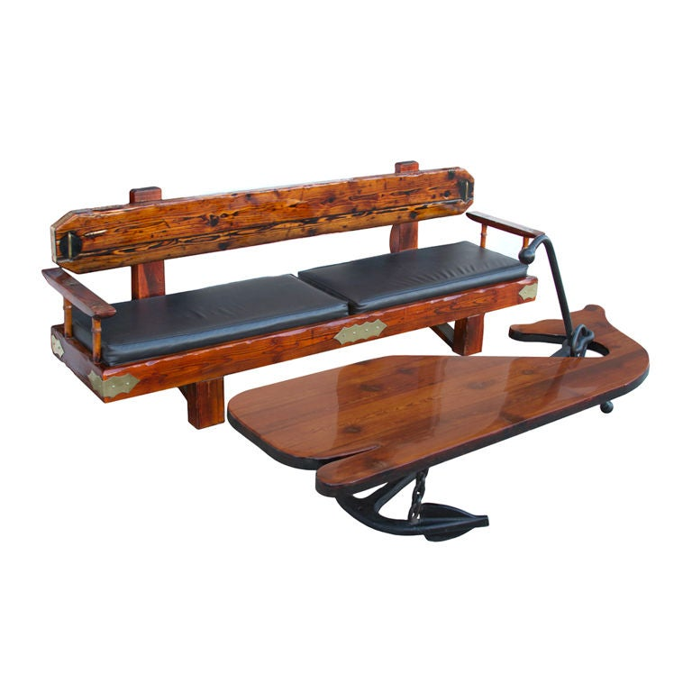 Nautical whale coffee table and bench set at 1stdibs for Nautical coffee table
