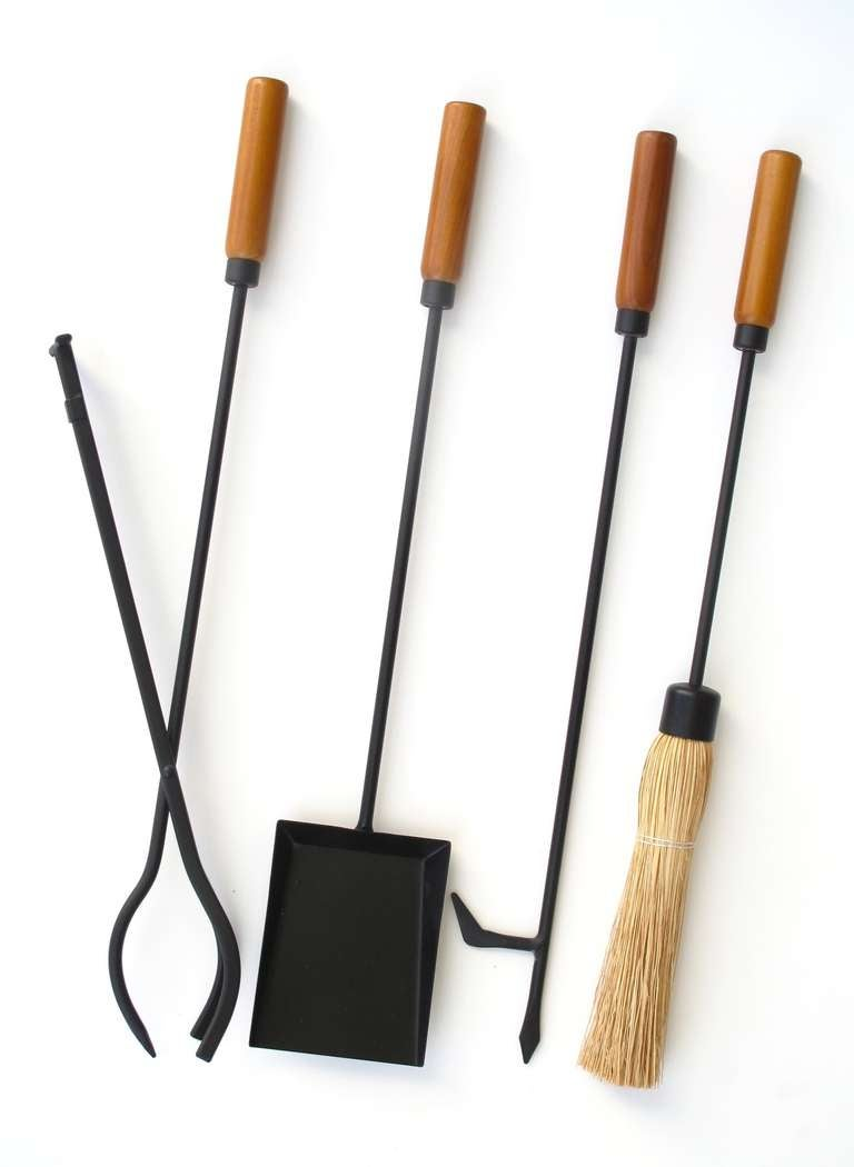 Fireplace Tool Set Detail Clean Mid Century Modern Wood