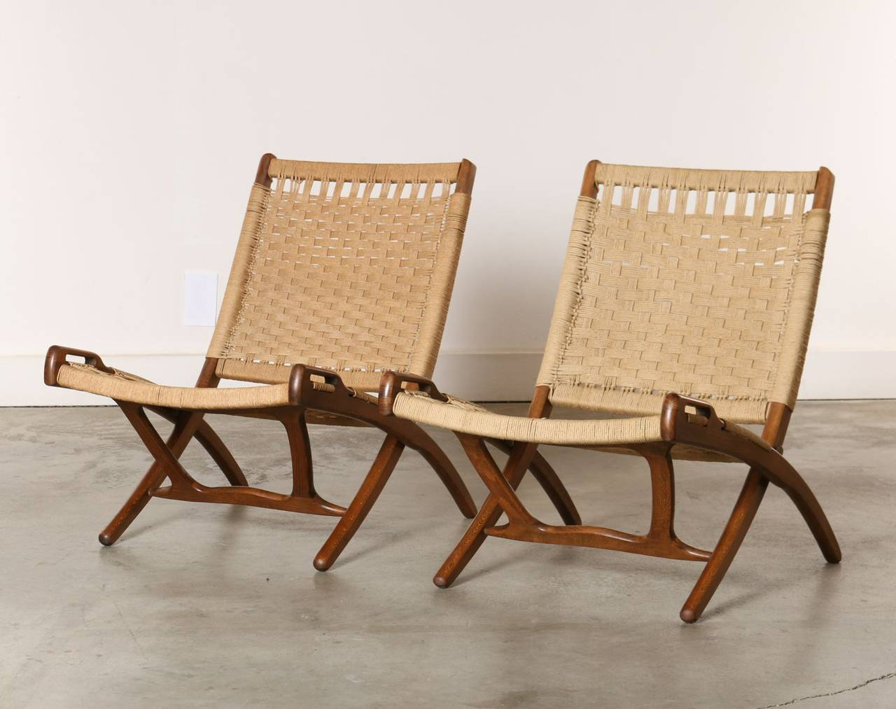 pair of 1960s wood and rope folding chairs at 1stdibs