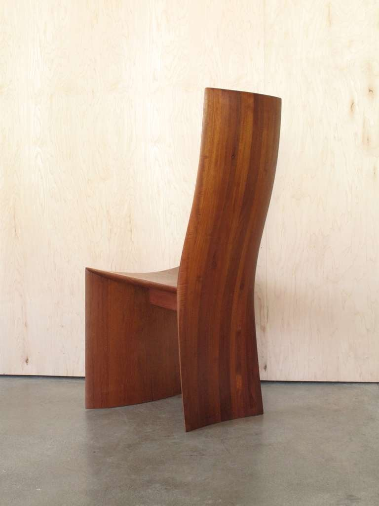 Handcrafted wooden side chair 1980s california design at for Waterfall seat design