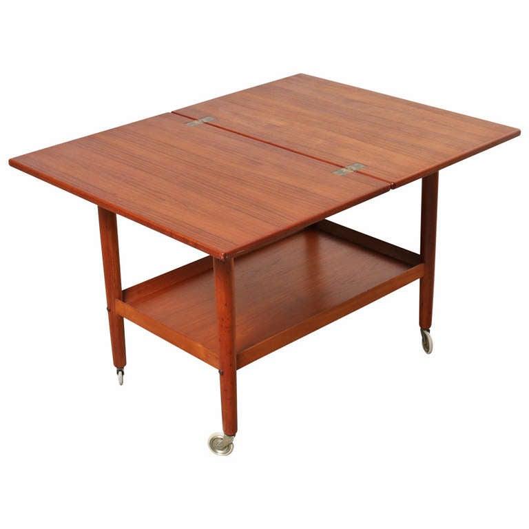 danish teak folding flip top side or cocktail table 1960 39 s at 1stdibs. Black Bedroom Furniture Sets. Home Design Ideas