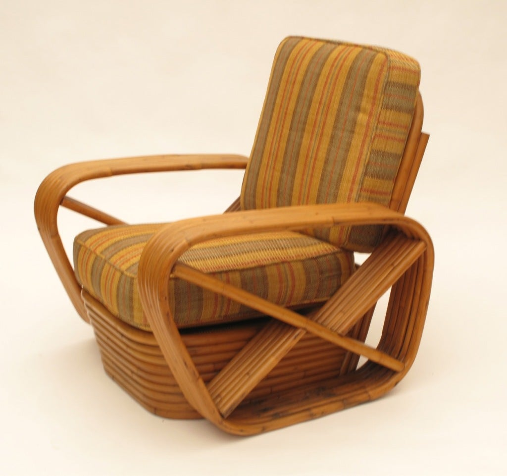 Paul Frankl Rattan Arm Chair and Loveseat Set image 4