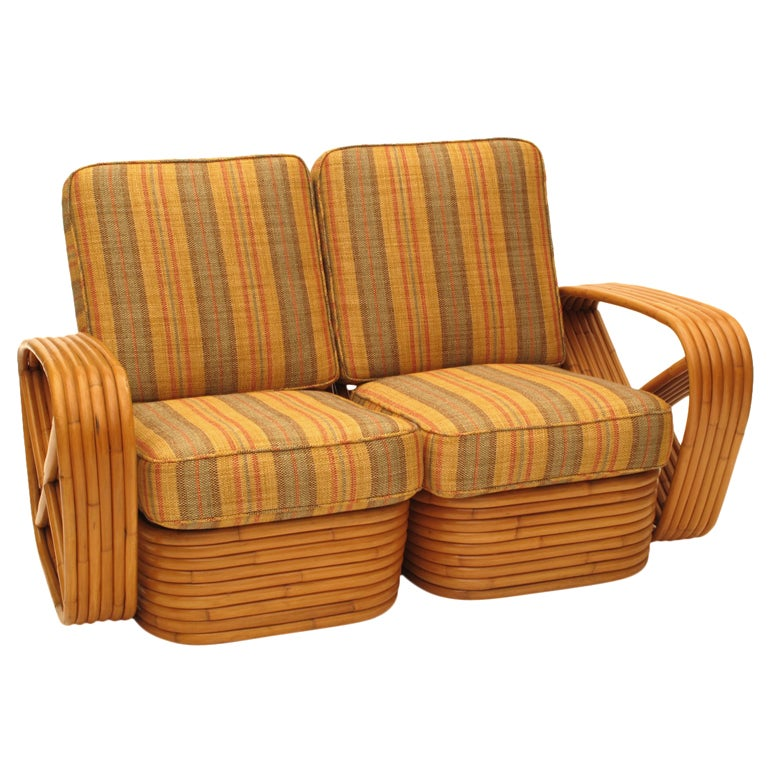 Paul Frankl Rattan Arm Chair And Loveseat Set