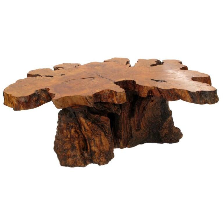Redwood Tree Coffee Table: Organic Burlwood Redwood Coffee Table 1960's At 1stdibs