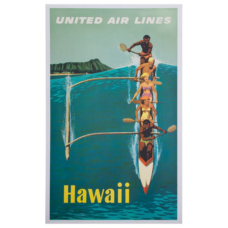 Cheap Posters Yosemite United Air Lines Vintage Travel Poster: United Airlines Hawaii Outrigger Travel Poster By Stan