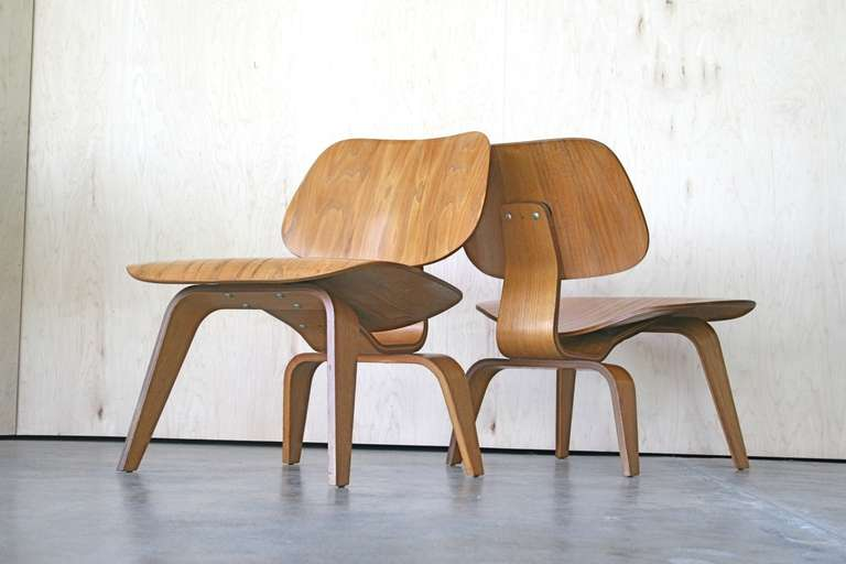 Pair Of Early Charles Eames Lcw Chairs At 1stdibs