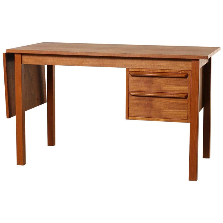 Danish Modern Teak Expandable Desk With Movable Drawers At