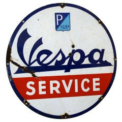 Original A.C.M.A. Paris Vespa Service Sign, 1950s