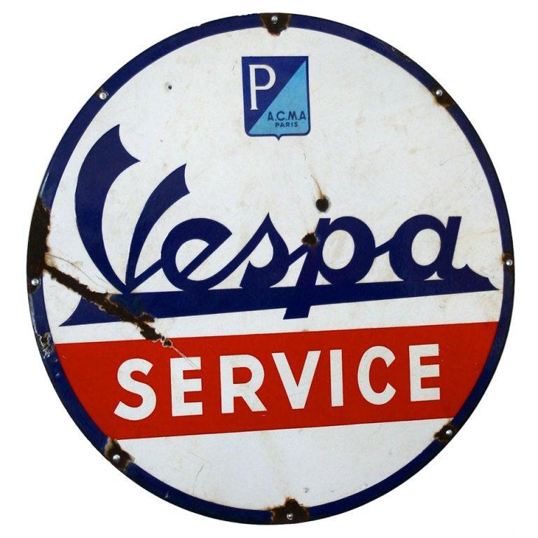 Original a c m paris vespa service sign s enamel