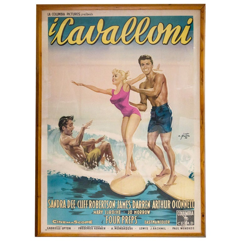 Giant vintage italian surf poster i cavalloni gidget at for Retro italian xxx